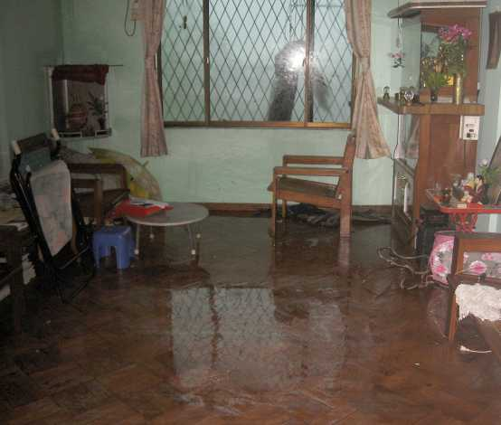 Living room during Cyclone Nargis, Yangon, Myanmar